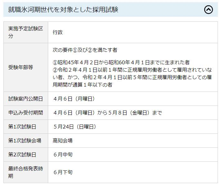 高知県、「正規雇用されていない」氷河期世代採用を公式発表!!