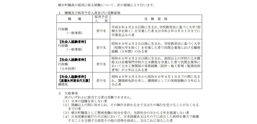富山県朝日町、氷河期世代を対象に調理員1名を募集開始!